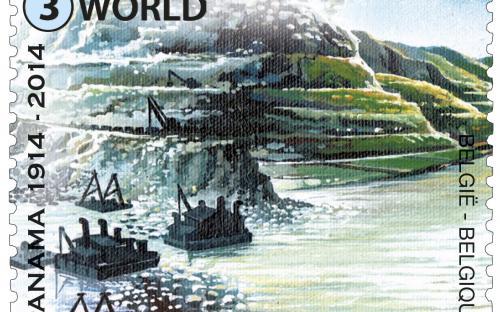 7 juli: Het Panamakanaal 100 jaar (linksezegel)